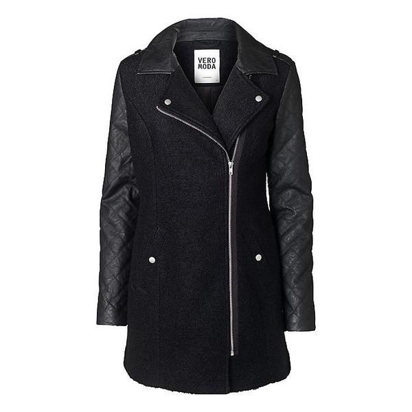 Vero Moda Mantel - Materialmix aus Leder und Wolle