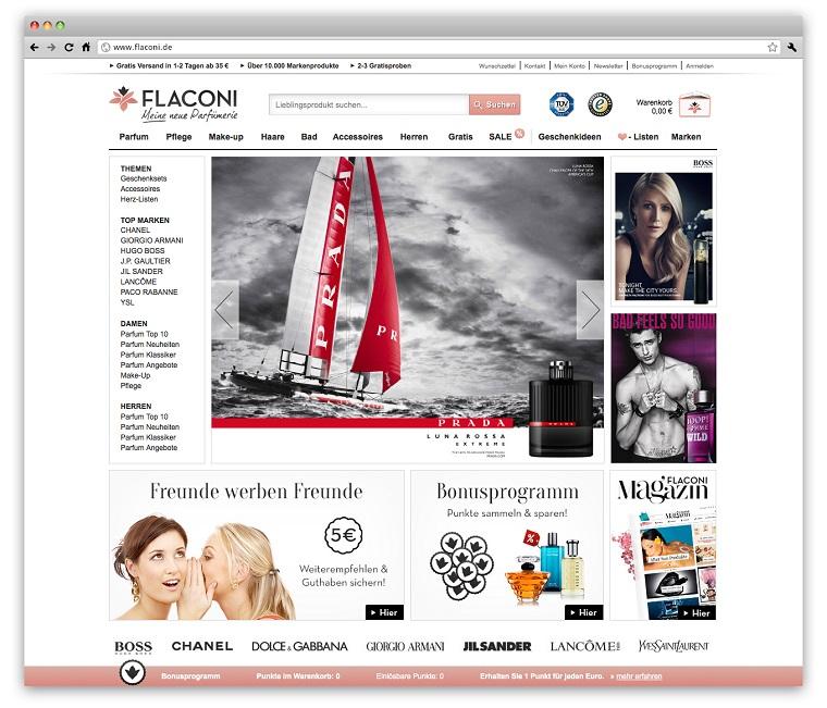 Der Webauftritt von 'Flaconi'
