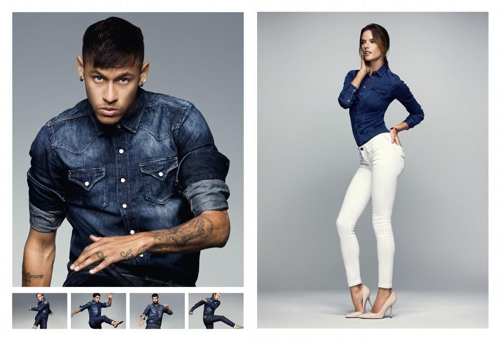 Alessandra Ambrosio präsentiert gemeinsam mit Weltklasse-Fußballern die neue Replay Hyperflex-Jeans. Foto: Fashion Box S.p.A. / The Edge GmbH