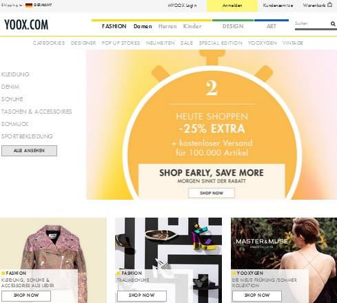 Online Shop von YOOX www.yoox.com