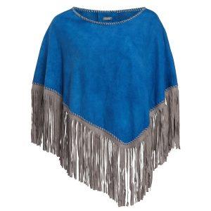 blau poncho fransen