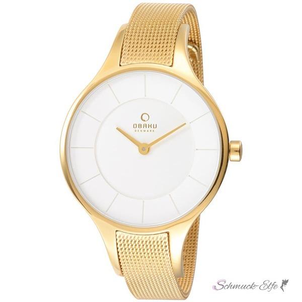 Obaku Damen Armbanduhr Gelbgold