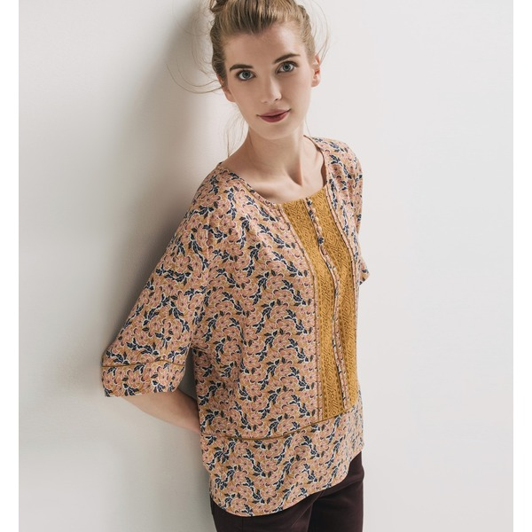 Promod Bluse mit Retro-Muster