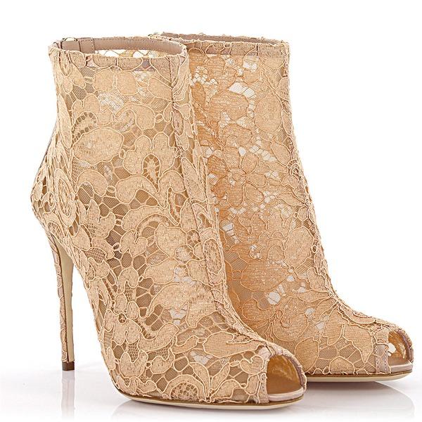 Dolce & Gabbana Peeptoe Ankel Boots Spitze