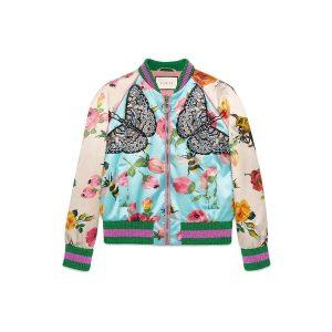 Bomberjacke Blumen Gucci