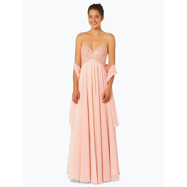 Luxuar Fashion Damen Abendkleid mit Stola rosa