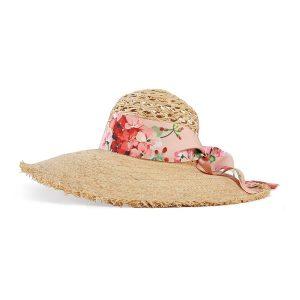 Strohhut Blumenmuster Gucci