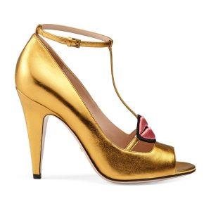 pumps gold gucci