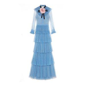 abendkleid blau gucci